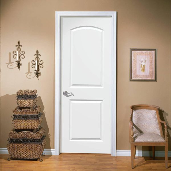 Roman Primed Smooth 2 Panel Round Top Hollow Core Composite Interior Door Slab with Bore