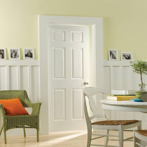 Textured 6-Panel Hollow Core Primed Composite Interior Door Slab with Bore