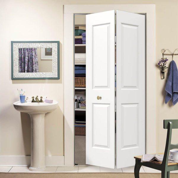 Carrara White Painted Smooth Molded Composite MDF Closet Bi-Fold Door