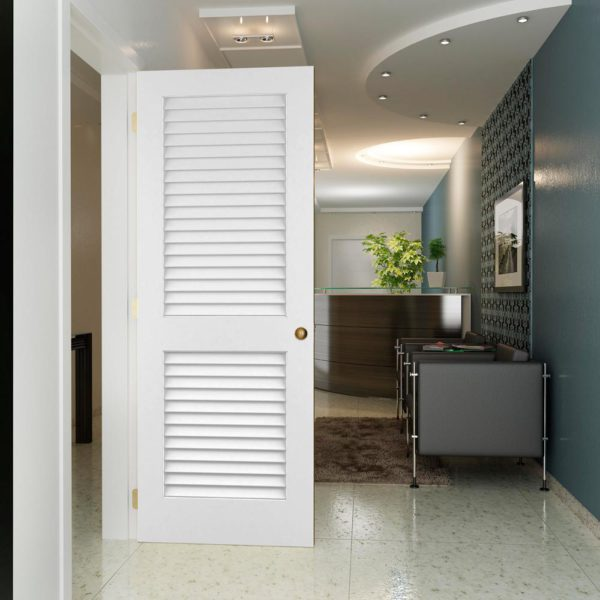 White Plantation Louver Panel Solid Core Wood Interior Door Slab