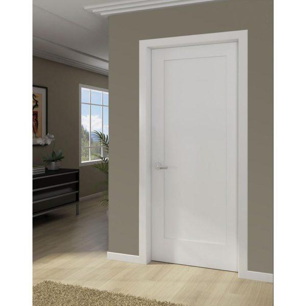 White 1-Panel Shaker Solid Core Wood Interior Door Slab