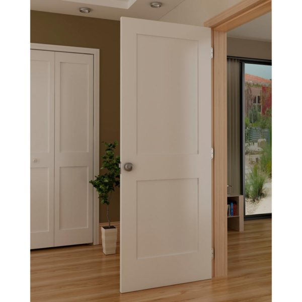White 2-Panel Shaker Solid Core Pine Interior Door Slab