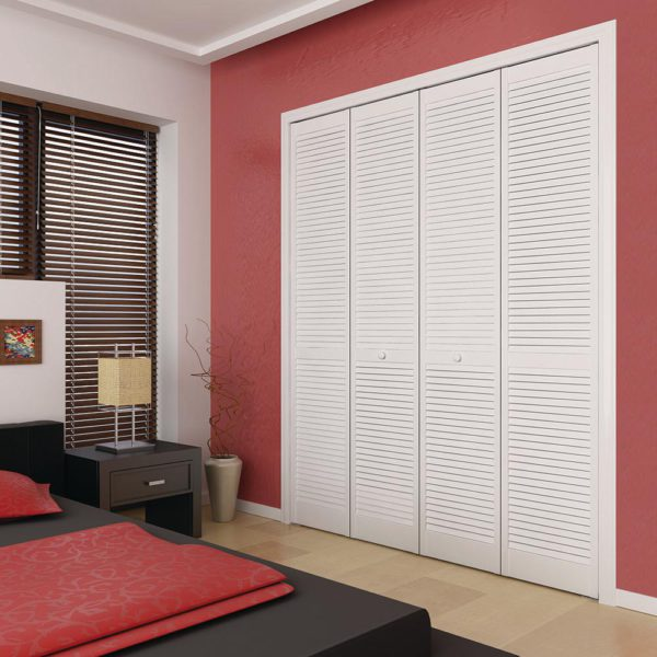 Louver Pine White Interior Closet Bi-fold Door